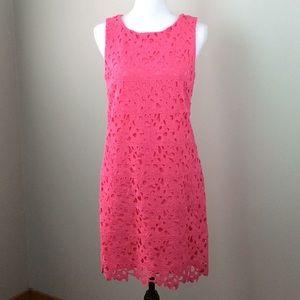Jessica Simpson Pink Crochet Floral Shift Dress